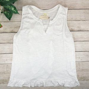 Anthropologie Maeve White Ruffle Tank Top